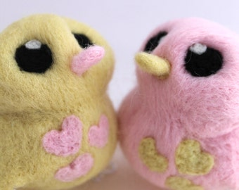 Wedding Cake Topper Birds in Pink and Pale Yellow