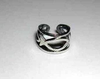 Sterling silver Christian fish ear cuff-free shipping