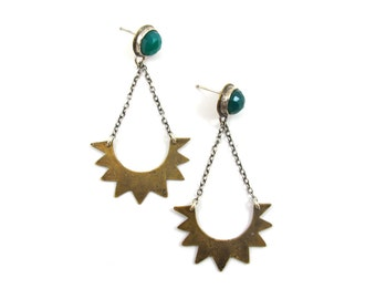 Ancient Astronaut Earrings  || Green Chalcedony