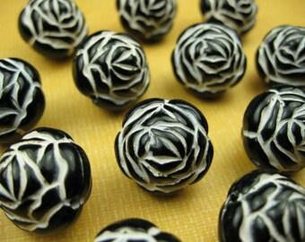 20 Vintage Large Black Rose Lucite Beads