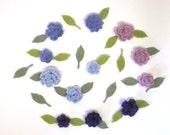 Tiny Felt Flowers and Leaves Purple and Blue