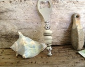 BOTTLE OPENER...made with beach stones and sea glass - office bar- beach wedding