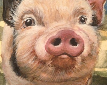 ACEO Print Tiny Art Giclee of Pig by Rebecca Salcedo EBSQ Farm animals Smelly Rhino A4C