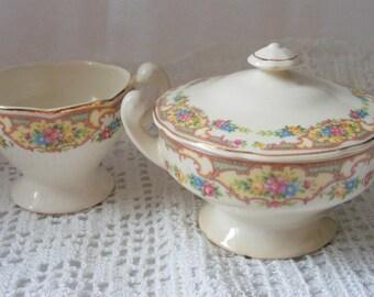 Vintage Ivory Creamer and Sugar Bowl with Floral Design