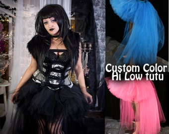 Custom color tutu skirt hi low Wedding Formal extra poofy trail bustle Adult bridal halloween costume -You Choose Size - Sisters of the Moon