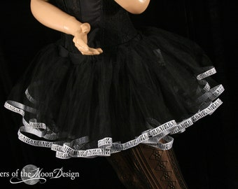 Ready to ship Zebra tutu petticoat skirt adult trim black Halloween costume carnival durby run -Medium- Sisters of the Moon