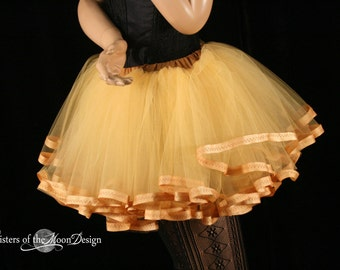 Adult tutu skirt petticoat trimmed butter cream costume extra poofy carnival petticoat bridal dance - You Choose Size - Sisters of the Moon