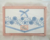Blue Daisies Embroidered Pillow Cases Vintage 60s 70s New In Box