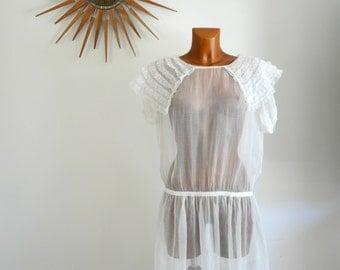 Sheer White Muslin Vintage 20s Flapper Dress Ruffled Capelet Wedding S M