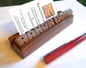 Desk Name / Business Card Holder - Your Name Carved to Order in Walnut Wood