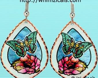 Butterfly & Cactus Flower Earrings