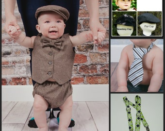 Baby Infant  Boy's Outfit, size 0 to 18 months Create your own suit, choose from vest, bow tie, cap and more