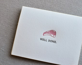 Well Done Punny Food Letterpress Greeting Card with Envelope