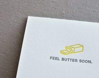 Feel Butter Soon Punny Food Letterpress Greeting Card with Envelope
