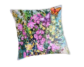 Wild Flowers and Butterfly bouquet, Designer Pillow cover,with print included, created from original Art