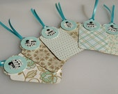 Set of 6 gift tags Die Cut Vintage Music and Cardstock with Teal ribbons
