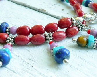 Handcrafted Artisan Southwestern Style Semi Precious Stone Red Coral Lapis Turquoise Sterling Silver Boho Hippie OOAK Choker Necklace