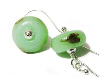 Minty Kisses - Mint Green Lampwork Glass Wire Wrapped Dangle Earrings