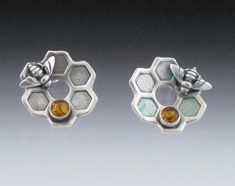 Flower Honeycomb Earrings with Amber & Sterling Bees