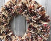 Primitive Americana Rag Wreath Burlap Wreath Homespun Fabric Wreath Rustic Spring Decor