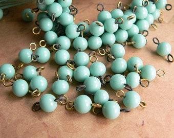 Vintage Aqua Turquoise Glass Beads Round 5mm Connectors (25)