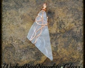 Recycled Clear Glass Wire Wrapped Pendant