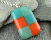 """Fused Glass """"Checker"""" Pendant in Tangerine, Teal and Mineral Green.  Glass Jewelry.  Modern Jewelry.  Colorful Pendant.  Summer Jewelry."""