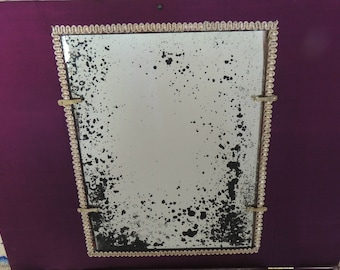 """Custom Made to Size Antiqued Aged Glass Mirror  apx 7""""x9"""""""