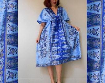 Thai Batik Two Tone Blue Floral Boho Hippie Short Kimono Dress Fit S-l (BT13)
