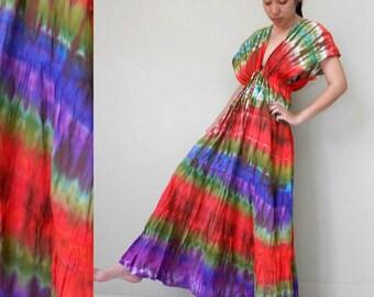 Boho Hippie V-Neck Tie Dye Cotton Long Kimono Women Summer Dress (T36)