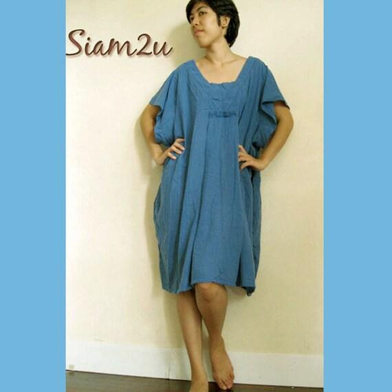 Simple Blue Ivy  Short Loose Tunic  Boho Dress (C16)