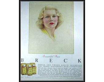 Breck Shampoo 1950s Vintage Advertising Fashion Wall Art Decor E115