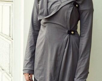 Grey cardigan, grey jersey cardigan, steampunk cardigan, dieselpunk cardigan, cowl cardigan, asymmetrical avantgarde cardigan, MASQ