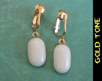 Clip On Earrings, Dangle Cream Clip ons, Non Pierced Earrings, Gold Tone Clipons Findings - Tianna - 353 -4