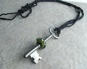 Meet Me at Midnight - Black Lampwork Antique Skeleton Key Necklace