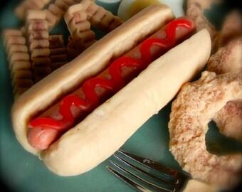 Hot dog and bun soap