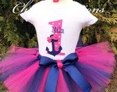First Birthday Tutu - Nautical Themed - Birthday Dress - Hot Pink & Navy Tutu - Anchor Shirt