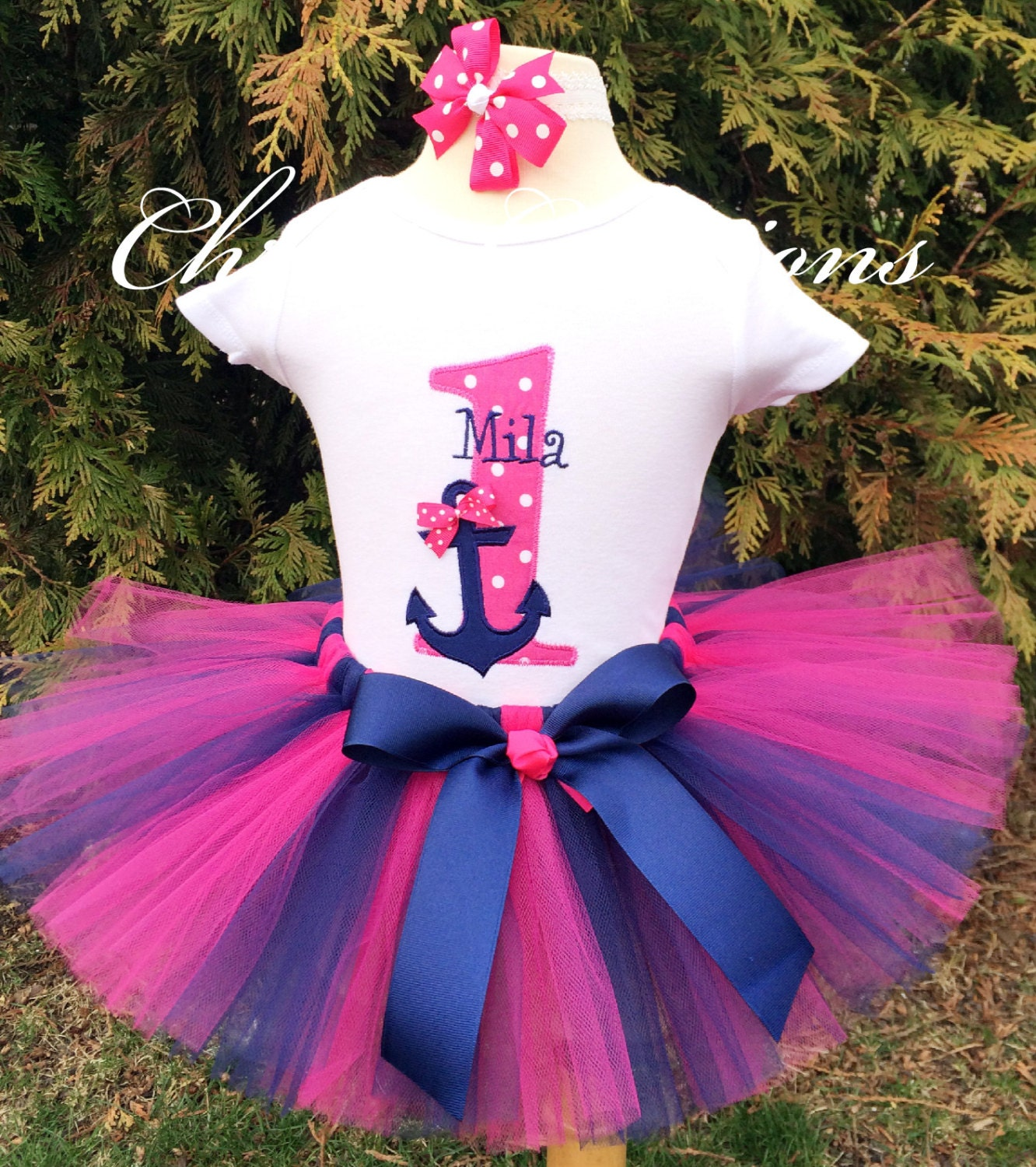 Birthday Party Outfit: Baby Girl 1st Birthday Outfit Nautical Tutu Set First