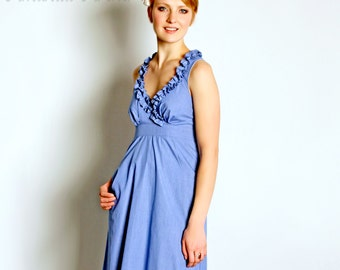 Bright Blue Dress, Bridesmaid, Made to Order