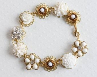 White Flower Bracelet Cluster Bracelet Bridal Bracelet Vintage Bracelet White Flower Bracelet