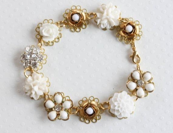 Wedding Flower Bracelet  Cluster Bracelet Bridal Bracelet Vintage Bracelet White Flower Bracelet