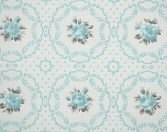 1940s Vintage Wallpaper by the Yard - Vintage Wallpaper Blue Roses on Lace Doilies