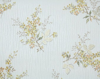 1950s Vintage Wallpaper by the Yard - Gold and Yellow Leafy Floral on White Wood Grain