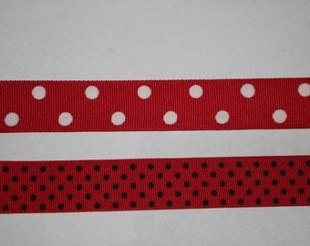 "16 YARDS 7/8"" wide Red with white polkadots grosgrain ribbon  (In 2 Pieces)"