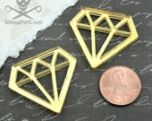 GOLD DIAMOND CABS - Set of 2 Gold Mirror Laser Cut Acrylic Cabochons