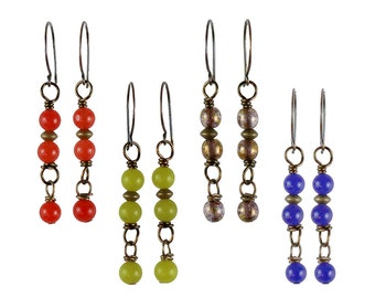 Greer Earrings - (Orange, Olive, Blue) - 3 Colors Available - Antique Brass
