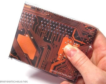 Mens Circuit Board bifold vinyl wallet