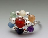 Rainbow Chakra Gemstone Sterling Silver Wire Wrapped Bead Ring
