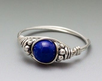 Lapis Lazuli Bali Sterling Silver Wire Wrapped Bead Ring - Made to Order, Ships Fast!