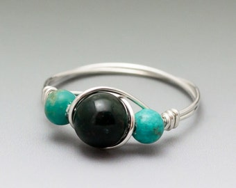 Bloodstone Heliotrope & Turquoise Silver Wire Wrapped Bead Ring - Made to Order, Ships Fast!